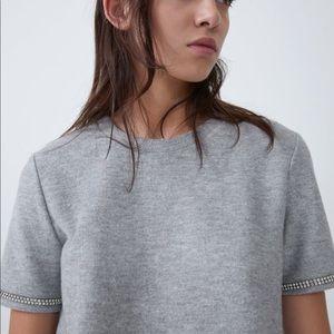 ZARA Shiny Soft - Touch T Shirt Small NWT
